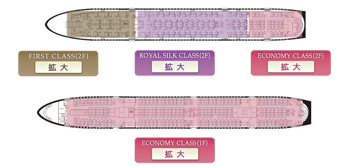 タイ航空ファーストクラスシートマップ
